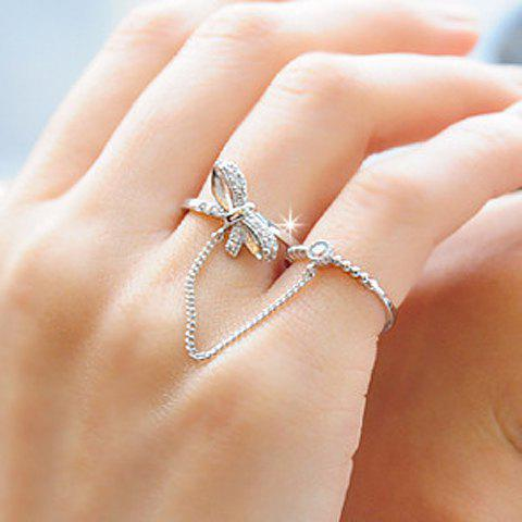 Chic Rhinestone Embellished Bowknot Shape Ring For Women - SILVER ONE-SIZE