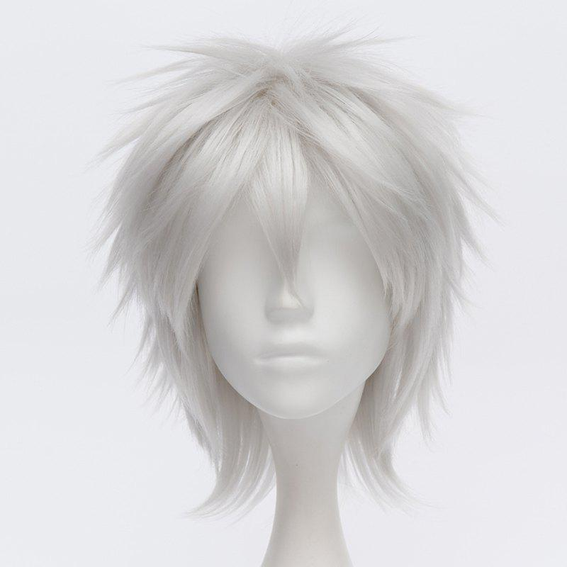 Trendy Short Straight Silvery White Fluffy Charming Sakata Gintoki Cosplay Wig -