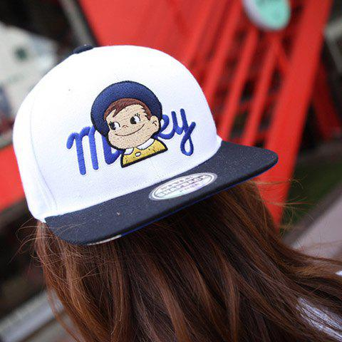 Cute Embroidered Cartoon Character Embellished Color Block Baseball Cap For Women - BLUE