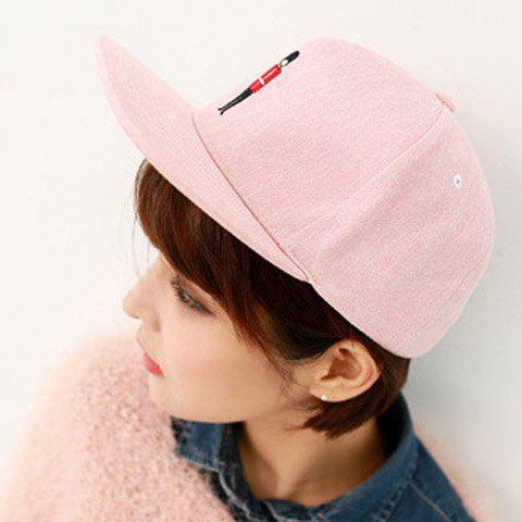 Sweet Candy Color Embroidery Little Sentry Pattern Adjustable Baseball Cap For Women - WATERMELON RED