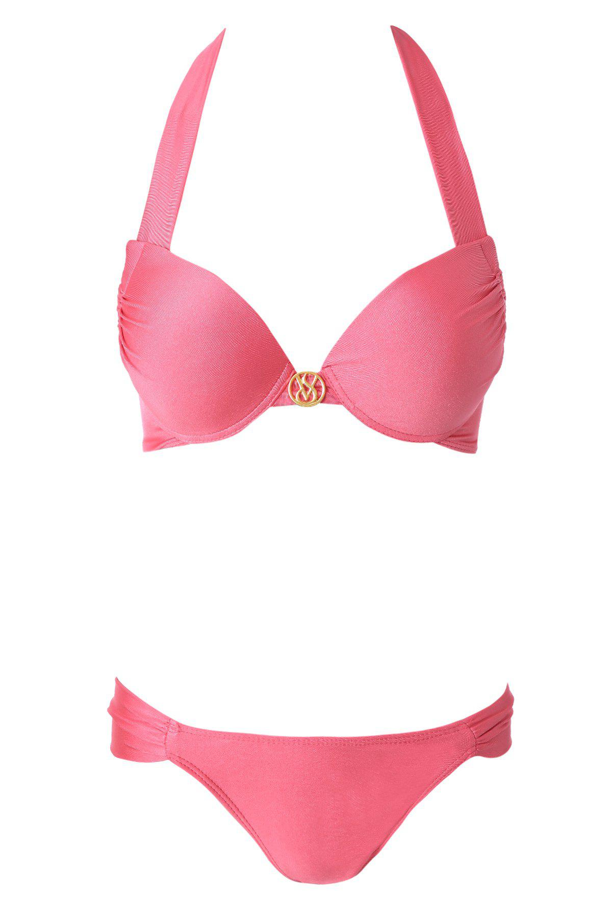 Sexy Halterneck Solid Color Push-Up Women's Bikini Set - PINK M