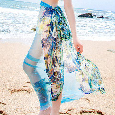 Attractive Multicolor Scenery Pattern Long Plus Size Soft Beach Scarf For Women - BLUE