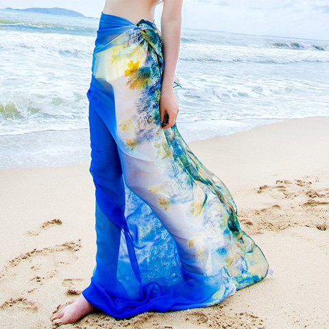 Sexy Gradient Color Floral Print Thin Long Beach Scarf For Women - BLUE