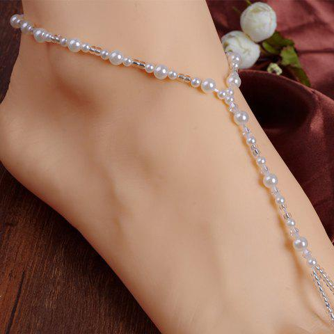 ONE PIECE Faux Pearl Beads Anklet - WHITE