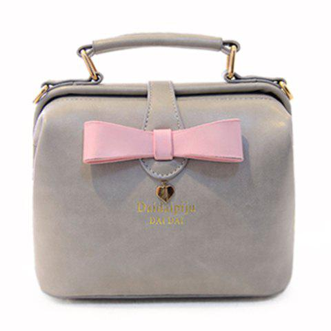 Sweet Bowknot and Color Block Design Crossbody Bag For Women - GRAY