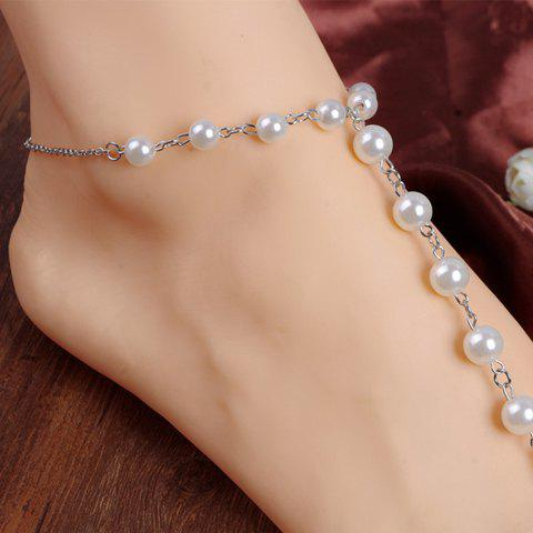 ONE PIECE Fake Pearl Decorated Anklet - SILVER