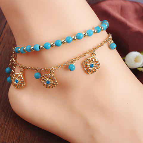 A Set of Attractive Bohemian Style Rhinestone Embellished Beads Double-Layered Floral Shape Women's Anklets - GOLDEN