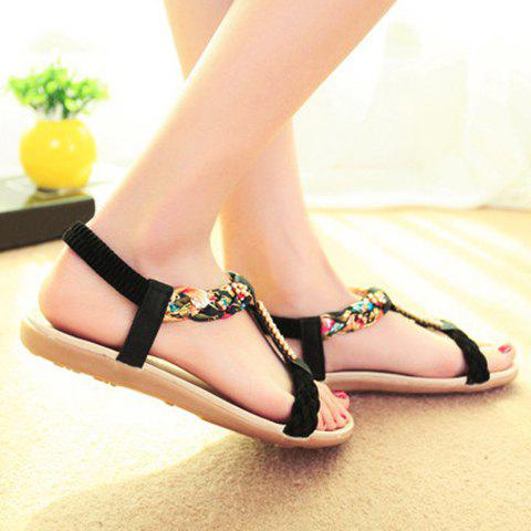 Sweet Weaving and Rhinestones Design Sandals For Women - BLACK 40