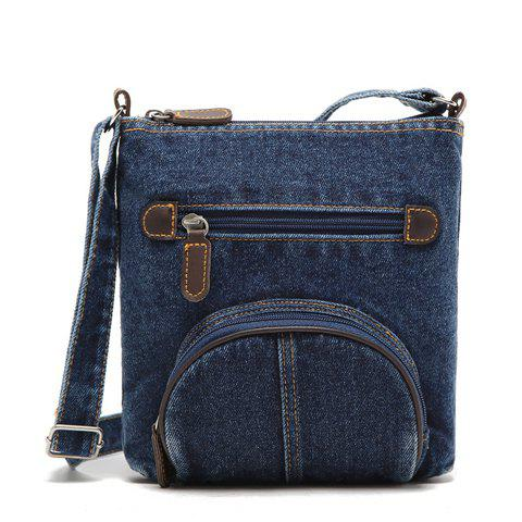 Trendy Denim and Zipper Design Women's Crossbody Bag - BLUE