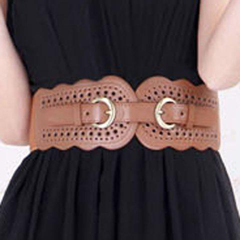Fresh Style Solid Color Openwork Broad Flounce Design Adjustable Belt For Women - COFFEE