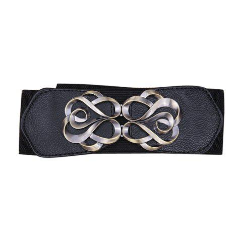 Retro Style Solid Color Alloy Pothook Buckle Elastic Belt For Women - BLACK