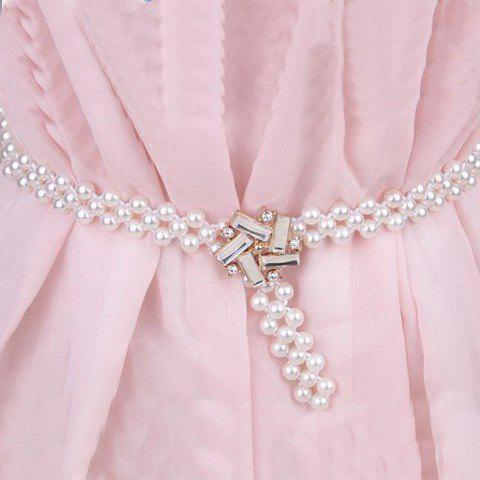 Chic Faux Gem Embellished Openwork Faux Pearl Waist Chain For Women - WHITE
