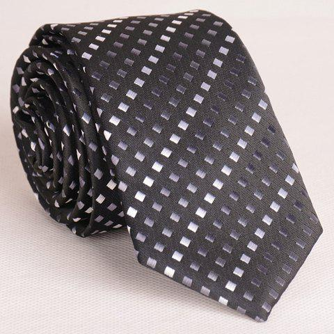 Fashionable Tiny Black and Grey Plaid Pattern Thin Neck Tie For Men