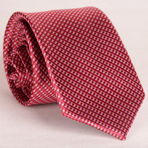 Simple Style Full Tiny Red Plaid Print Thin Neck Tie For Men - CLARET