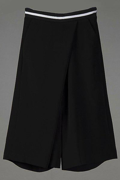 Stylish Loose Zipper Fly Wide Leg Capri Pants For Women - BLACK M
