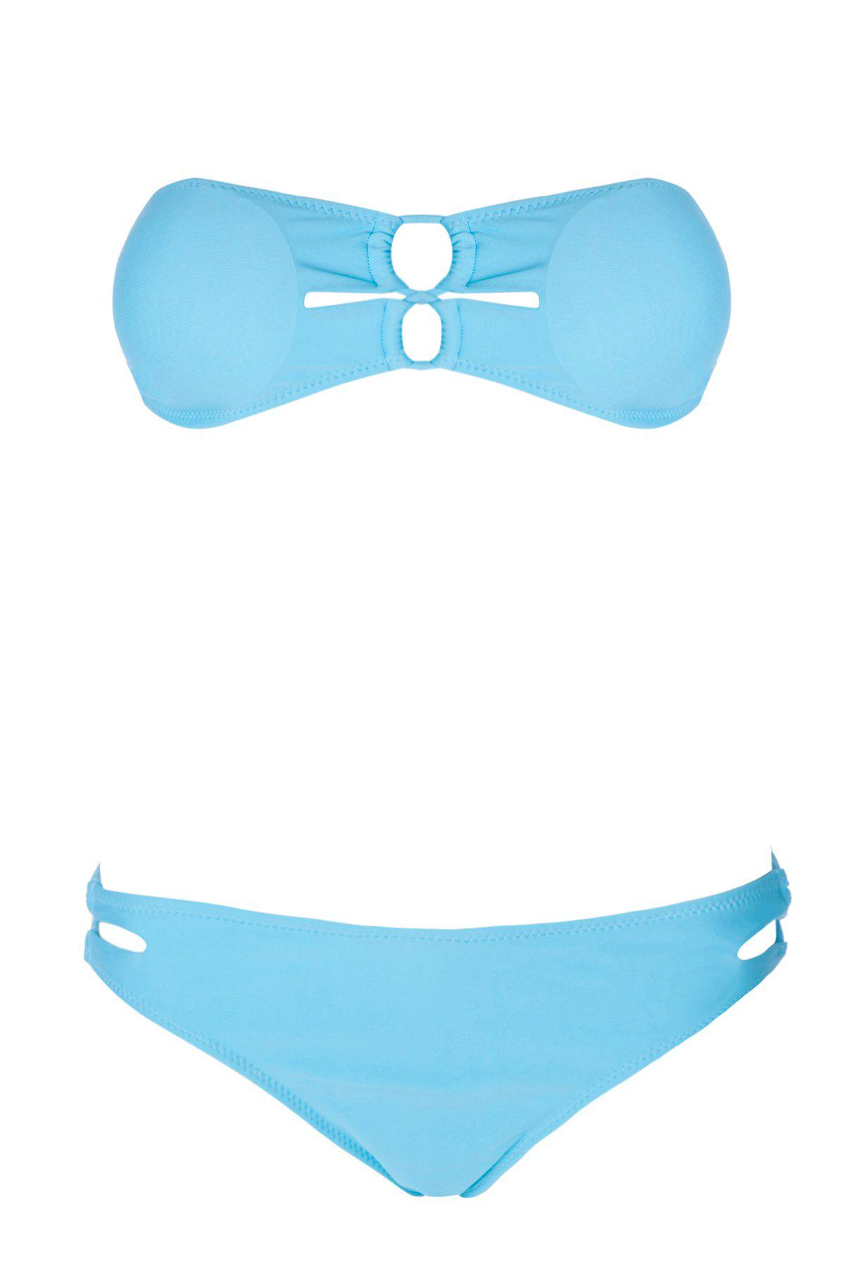 Sexy Style Solid Color Cross Openwork Bikini Set For Women - LAKE BLUE M