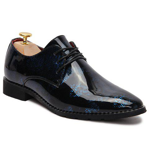 Stylish Pointed Toe and Patent Leather Design Formal Shoes For Men - SAPPHIRE BLUE 41