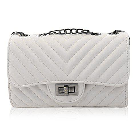 Stylish Stitching and Hasp Design Shoulder Bag For Women - WHITE