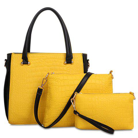 Gorgoeus Color Block and Crocodile Print Design Tote Bag For Women - YELLOW