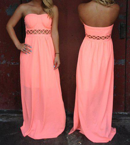 Stylish Strapless Sleeveless Solid Color Hollow Out Women's Dress - PINK L