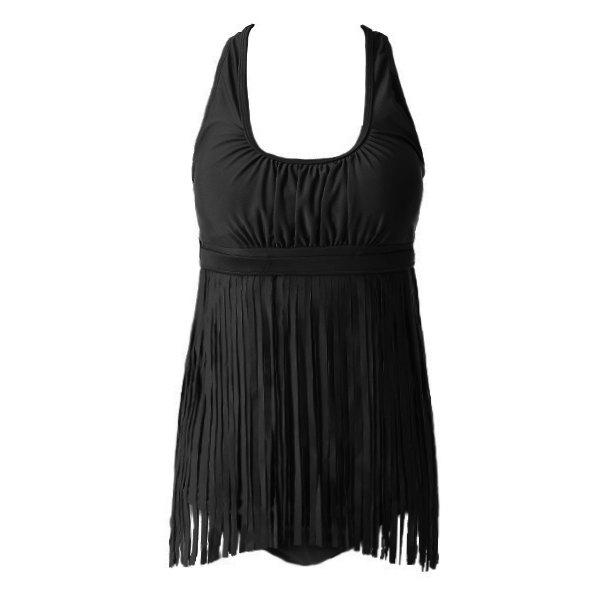 Solid Color Tassels  One-Piece Swimsuit - BLACK 3XL