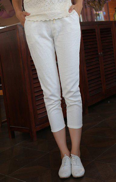 Refreshing Candy Color Lace-Up Ninth Pants For Women - WHITE L