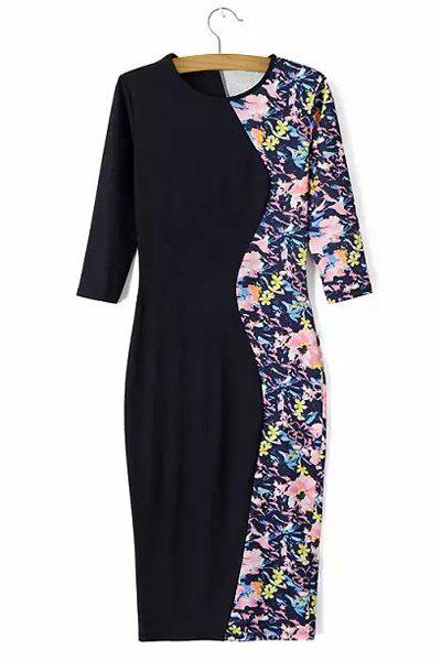 Elegant Floral Print Splicing Round Collar Half Sleeve Dress For Women