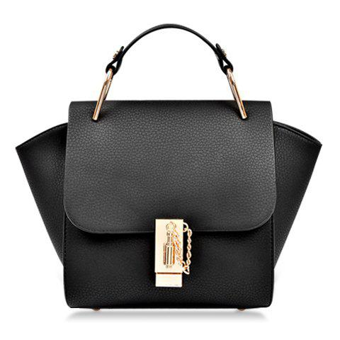 Preppy Metallic and Solid Color Design Tote Bag For Women - BLACK