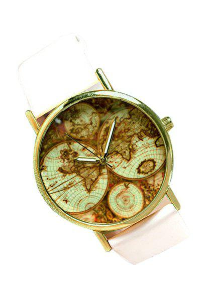 Vintage Map Print Watch For Women - WHITE