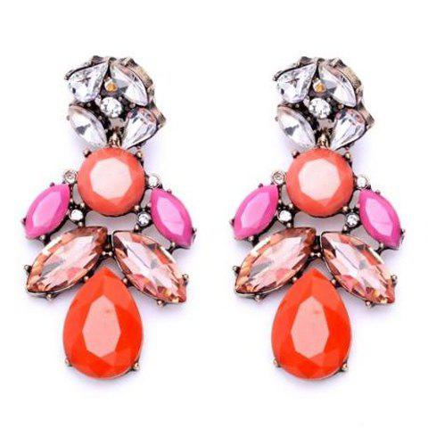Pair of Faux Gem Decorated Water Drop Shape Earrings - COLORMIX