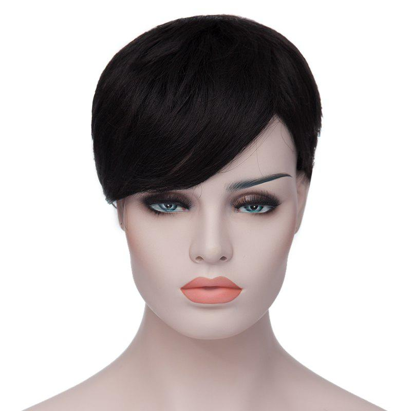 Stylish Heat Resistant Fiber Side Bang Black Spiffy Ultrashort Straight Women's Capless Wig -