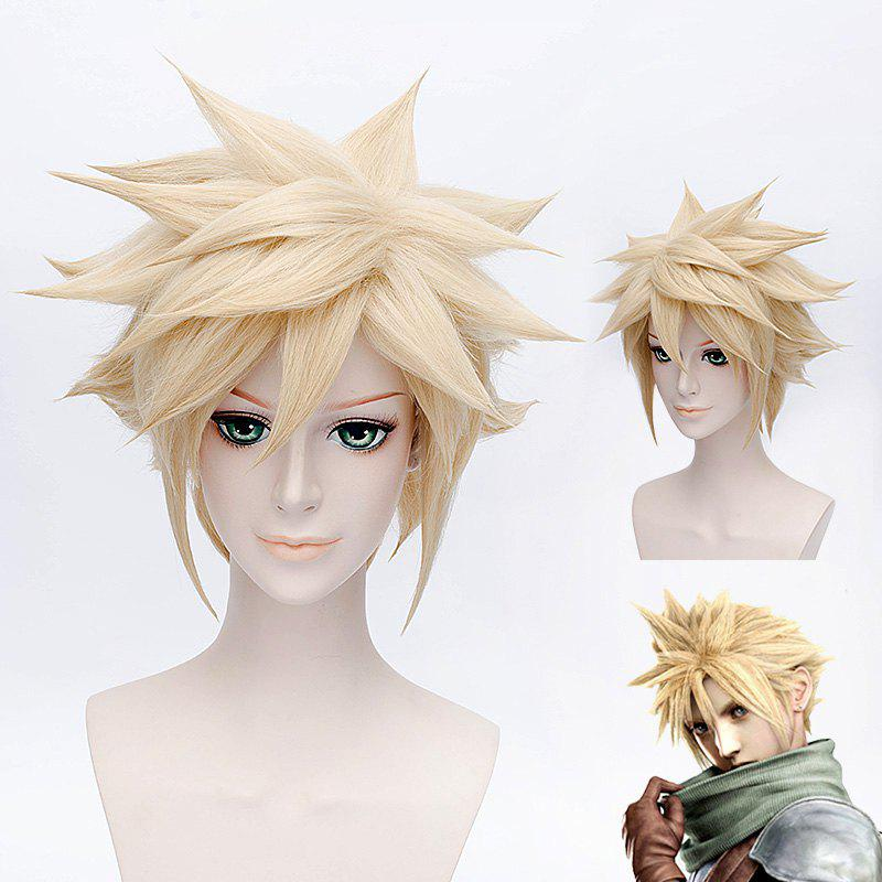 Fashion Soft Gold Shaggy Tilt Short Straight Anime Final Fantasy VII Cloud Cosplay Wig -