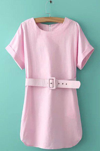 Gorgeous Short Sleeve Round Collar With Belt Solid Color Women's Dress - PINK M