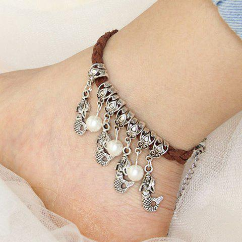 Ethnic Beads Fish Pendant Anklet For Women - BROWN