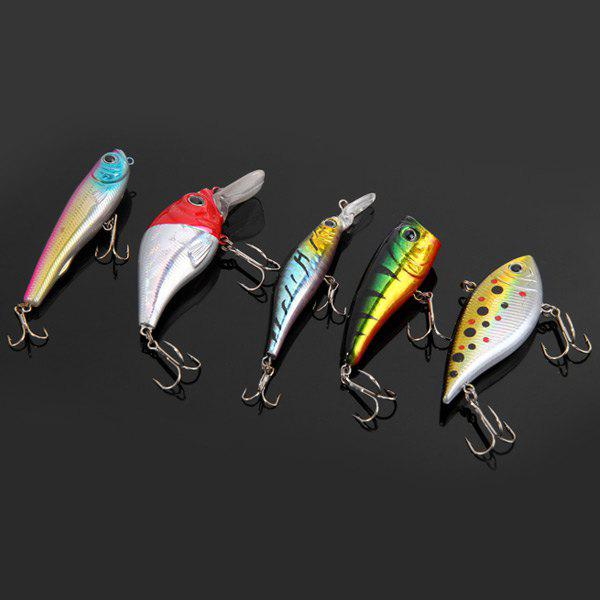 5pcs Yoshikawa Lifelike Fish Shaped Hard Fishing Lure 7.5cm Bait with Hooks - COLORMIX