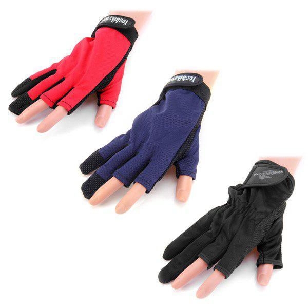 1 Pair Yoshikawa Breathable Non-slip Two Fingers Design Fishing Gloves - RANDOM COLOR