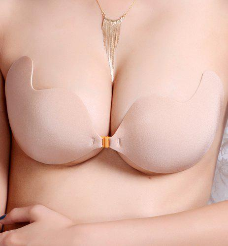 Stylish Strapless Solid Color Seamless Silicone Bra For Women - YELLOWISH PINK M