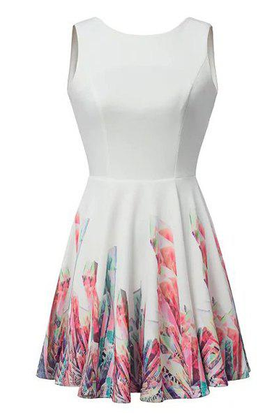 Sexy Floral Print Round Collar Backless Sleeveless Dress For Women - WHITE L