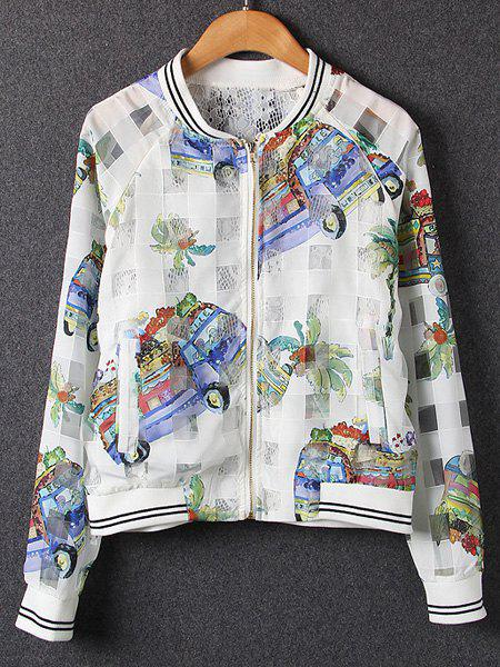 Active Long Sleeve Stand Collar Voile Splicing Cartoon Print Women's Jacket - WHITE L
