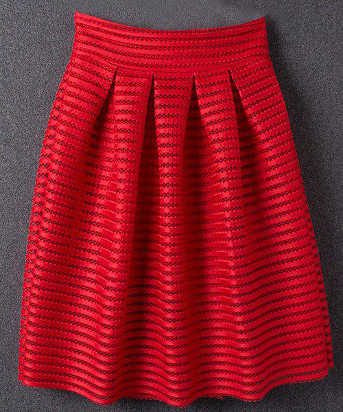 Gorgeous Solid Color Hollow Out Women's Skirt - RED S