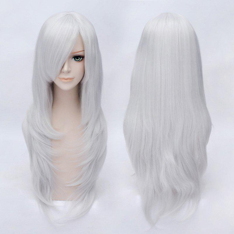 Charming Multi-Layered Side Bang Silvery White Long Silky Straight Heat-Resistant Cosplay Wig - SILVER WHITE