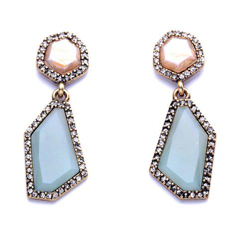 Pair of Stylish Chic Faux Gem Irregular Geometric Shape Design Earrings For Women vintage style geometric design gem embellished earrings for women
