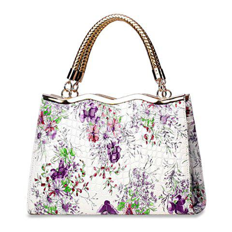 National Style PU Leather and Floral Print Design Tote Bag For Women - PURPLE