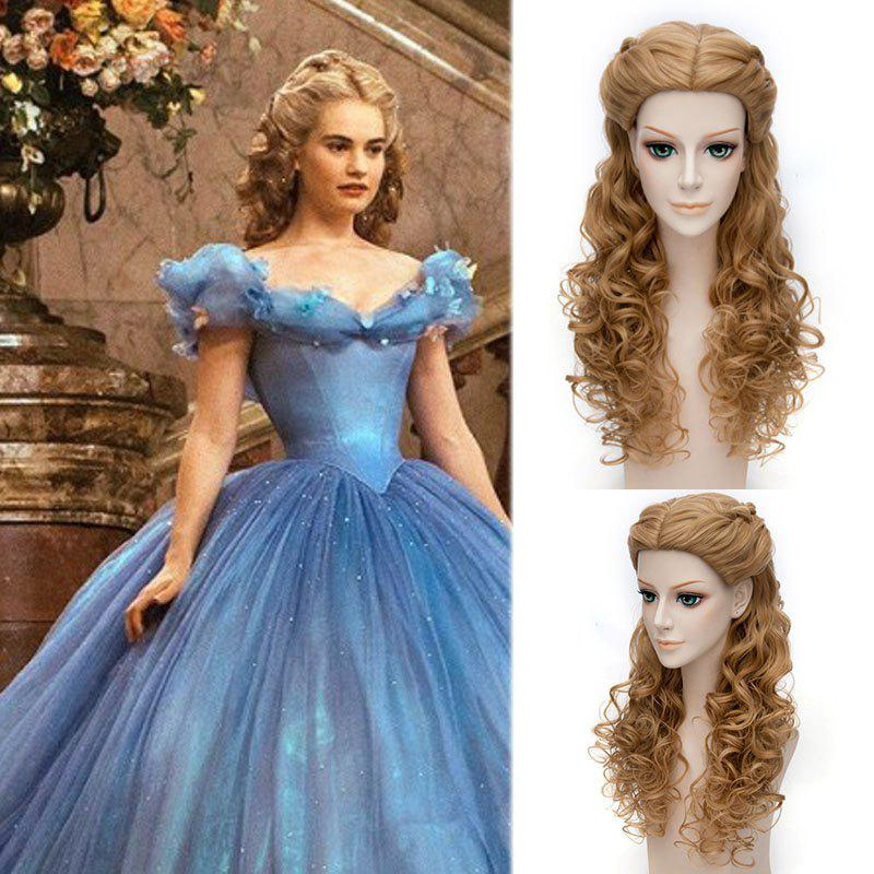 Popular Cinderella Cosplay Elegant Charming Flaxen Long Jerry Curly With Braids Costume Wig cosplay wig 2015 new movie princess cinderella wig long curly ash blonde anime cosplay wig free shipping