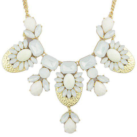 Luxury Faux Gem Decorated Water Drop Shape Necklace For Women - OFF WHITE