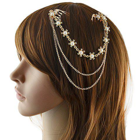 Stylish Chic Faux Pearl Rhinestone Floral Hair Comb For Women - GOLDEN