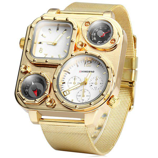 Shiweibao 1108 Double Movt Quartz Watch Compass Rectangle Dial Male Golden Steel Net Wristwatch - WHITE