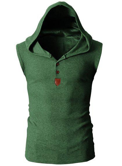 Trendy Solid Color Button Design Hooded Sleeveless Slimming Men's Polyester Tank Top - GREEN M