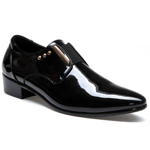 Fashion Patent Leather and Rivets Design Formal Shoes For Men - BLACK 42