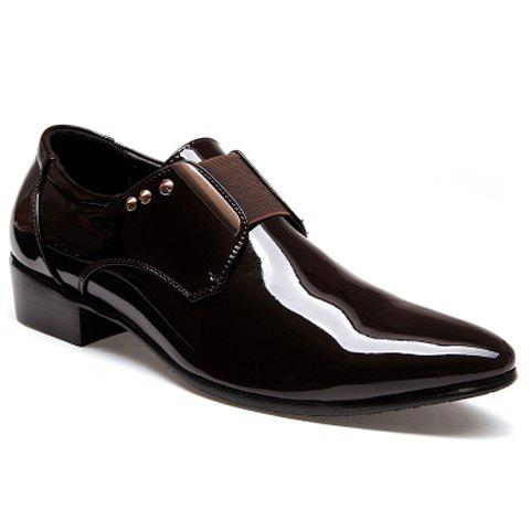 Fashion Patent Leather and Rivets Design Formal Shoes For Men - BROWN 43